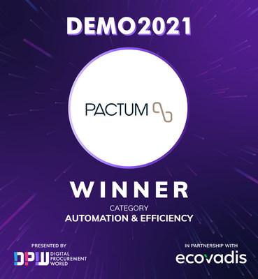 Pactum, Best Startup in Automatio & Efficiancy category. Digital Procurement World DEMO 2021. https://dpw.ai